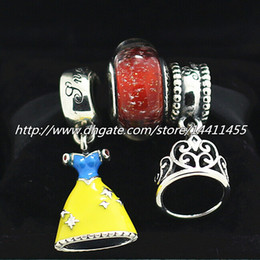 Diy 925 Sterling Silver Charms and Murano Glass Bead Set Fits European Pandora Jewelry Charm Bracelets- Snow White's Sets