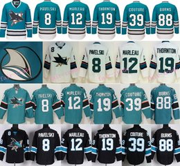Wholesale 2016 San Jose Sharks Joe Pavelski Patrick Marleau Joe Thornton Logan Couture Brent Burns Teal Green th Anniversary Jersey
