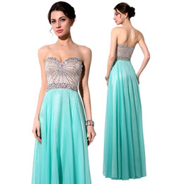 Wholesale Aqua Prom Dresses Party Evening Gowns Sparkly Colored Crystals Sweetheart Beading Chiffon Elegant A Line Sexy Backless Homecoming Gowns
