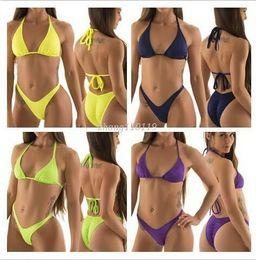 Sexy Clothing Women high cut swimsuit biquini Brazilian Bikini thong swimwear Halter Top swimsuit trikini
