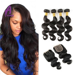 Malaysian 8-30inch Body Wave With Lace Closure Hair Malaysian Body Wave With Closure Hair Bundles With Lace Closures Free Shipping