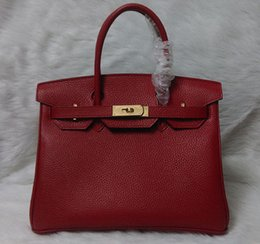 Wholesale-Free Shipping Women Designer Classic Handbags High Quality Red Litchi Genuine Leather 30CM Famous Brand Tote Bags Gold Silver