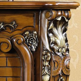 Wholesale 1 m high end European style fireplace wood carving decorative antique American furniture custom family Foshan