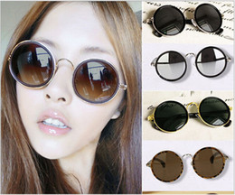 Wholesale Vintage Vtg Style s Round Lens Sunglasses Steampunk Glasse Hot New VINTAGE STEAM PUNK Tops round steampunk Metal Star Men CIRCLE sunglass