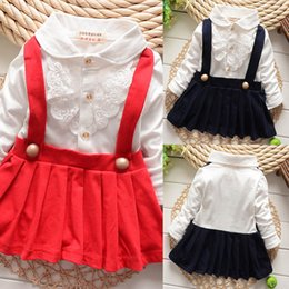 Wholesale Girl Baby Casual Ruffle Dress With Suspender Pattern Long Sleeve Shirt Dress DHgate com