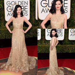 Eva Green 2016 73rd Golden Globe Awards Red Carpet Celebrity Dresses Sheer Crew Neck Full Beaded Floor Length Backless Lace Evening Gowns