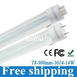 New Arrival!T8 LED Tube Light Bulb Lamp 14W 900mm 3 Foot White 1300lm CE RoHS Clear Cover Free Fedex+50pcs lot