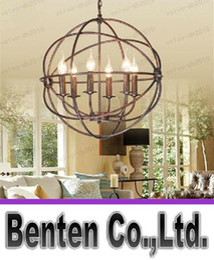 Wholesale llfa236 RH Lighting Restoration Hardware Vintage Pendant Lamp FOUCAULT S IRON ORB CHANDELIER RUSTIC IRON RH Loft light cm cm