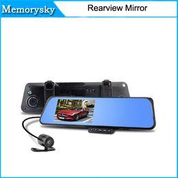 "Cámaras de lentes de porcelana en Línea-4.3 ""Bule LCD de pantalla de la cámara de doble lente Espejo retrovisor de coche del video de la caja negra HD1080P del coche DVR del G-Senser en stock 010227"