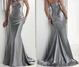Anniversary of our Shop ! In Stock Hot Sexy Strapless Beaded Silver Elastic Satin Mermaid Satin Bridesmaid Evening Prom Dresses under $100