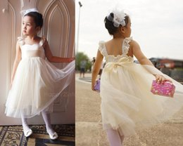 White Ivory Flower Girls Dresses Lace Cheap Formal Little Wedding Baby Party Dresses Party Gowns Any Color And Size