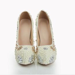 Perles de diamant hauts talons en Ligne-Européens et américains de luxe des femmes en cristal de perles de diamants chaussures de mariage imperméables chaussures de mariée et de chaussures à talons hauts