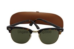 Wholesale Best Quality Brand Sunglass Mens Womens Fashion Tortoise frame Sunglass UV400 Green Lens mm With Brown Case Box