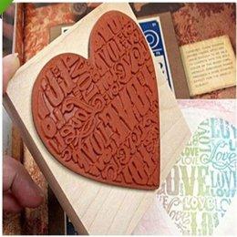 Wholesale-New Heart Shape Blocks Wooden Rubber Craved Printing Stamp Wood DIY Fashion Craft School Scrapbooking Decor