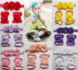 Wholesale 10 off Baby Flower elastic Headbands Pearl Barefoot Sandal hairband shoes Baby Foot Flower first walker Shoes