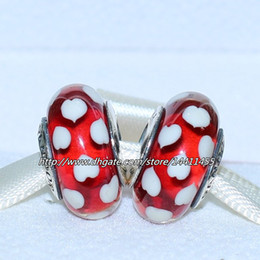 5pcs 925 Sterling Silver Thread Red Sweethearts Murano Glass Bead Fits European Pandora Jewelry Charm Bracelets Necklaces & Pendants