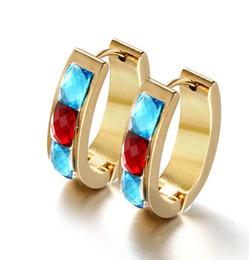Amazing Quality Bohemian style Popular Design Stainless Steel Gold Round Hoop Earring High Quality Blue &Red Rhinestone Crystals