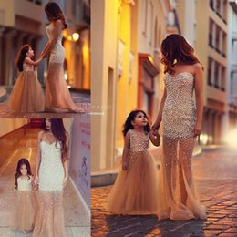 Gold Prom Dresses Pageant Sweetheart Floor Length Backless Mother and Girls Pageant Dresses 2019 Sweetheart Party Evening Gowns