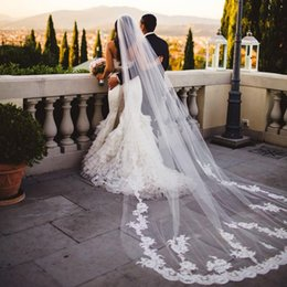 hot sale vintage cathedral wedding veils with comb lace appliques white   ivory tulle romantic long bridal veil