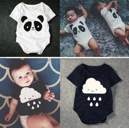 Wholesale Cute Baby Cartoon Romper Fashion Panda Raindrops Trade triangle Toddler jumpsuit Summer Infant short sleeved onesie BJ047