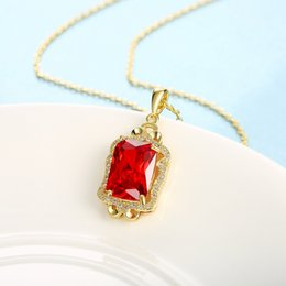 2.0ct Princess Cut Womens Pendant Necklace Chain Ruby Square Accessories Solid Jewerly For Every Ocassion