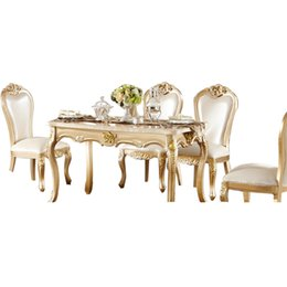 Wholesale Continental Dining Table marble Dining Table new long wood Dining Tables and chairs combination of champagne gold