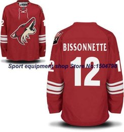 Wholesale 2016 New CHEAP MEN S Phoenix Coyotes PAUL BISSONNETTE HOME RED Ice Hockey Jersey Authentic Stitched Jerseys Size S XL Mix