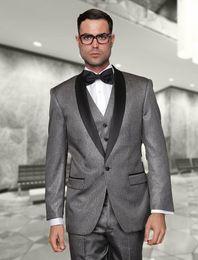 2015 New Arrival Grey Wedding Tuxedos mens suits Cheap Jacket+Pants+Tie+Vest mens tuxedos Groom Suits Best men suitsq110
