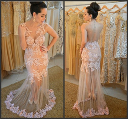 Sheer Tulle Prom Dresses Nude Fashion Sheath Tulle Gowns with Ivory Lace Appliques 2016 with Sexy Back