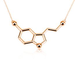 Wholesale 10PCS N011 Serotonin Molecule Necklace Chemical Formula HT Necklace Hormone Molecules DNA Necklace Nurse Jewelry for Women Men