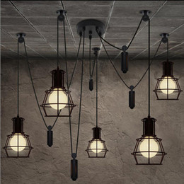 Loft Industrial Style Iron Cages Pendant Light Bar Counter Loft Wire Lamp Home Decoration Lights,PLRE19 Free shipping