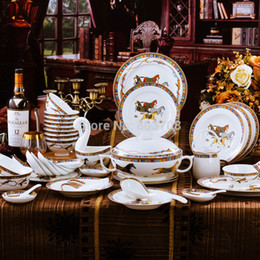 Wholesale Frace animal bone china dinnerware sets piece porcelain coffee set dinner dish sets for house warming gift