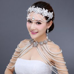 Wholesale Three Pieces Bridal Jewelry Set Wedding Accessories for Brides Unique Beading Pearls Shoulder Chain Headpiece Earrings Jewelry Set