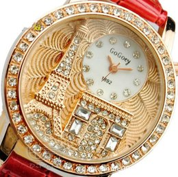 Wholesale GOGOEY New Fashion Ladies Leather Crystal Diamond Rhinestone Watches Women Beauty Dress Quartz Wristwatch The Eiffel Tower Watches