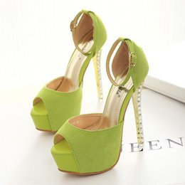 Wholesale 14cm Apple green ankle strap rhinestone heels shoes sexy high heels pumps wedding shoes party dress shoes size to