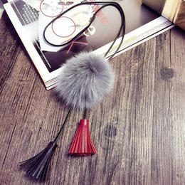 Wholesale Woman s Personalized Fluffy Ball Pendent Necklace Tassels Style Sweater Neckchains Outdoor Make Up Apparel Decoration jn483