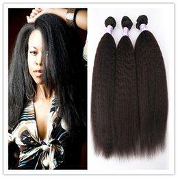 Wholesale Grade A unprocessed Brazilian virgin Kinky Straight Weave coarse yaki human hair Brazilian yaki straight hair bundles free shippi