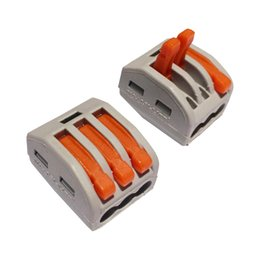 Wholesale 50PCS PCT WAGO spring lever push fit reuseable cable wire connector A pin Conductor Terminal Wire Wiring Connector