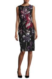 Fashion Print Women Sheath Dress Round Neck Sleeveless Dresses 011595