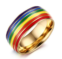 Free Engraving Fashion 8mm Gold Rainbow Gay Pride Wedding Rings in Stainless Steel