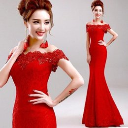 Wholesale Big Promotion Cheap Elegant Mermaid Red Long Evening Dresses Off the Shoulder Embroidery Chinese Lace Wedding Dresses Cheongsam