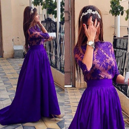 Jewel Half Sleeve A line Satin Prom Dresses 2015 Lace Top Sweep Train Half Sleeve Pleated Hot Party Evening Gown Custom made