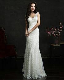 Wholesale Anita Cheap Mermaid Wedding Gowns Sweep Train A line Illusion Back Vestidos De Novias V Neck Lace Wedding Dress with Button BM18