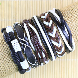High quality Handmade Mens and Women Bracelets Wrap Multilayer Genuine Leather Bracelet with Braided Rope Fashion Jewelry -TD115