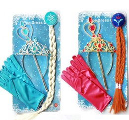 HOT SELL Frozen Elsa Anna Princess Crown+Hair Piece+Wand+Gloves Wigs Party Cosplay Christmas gift