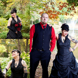 Gorgeous V-neck Black Halloween Wedding Dresses 2015 New Taffeta Halter Neckline Plus Size Gothic Bridal Dress Ruffle Wedding Gowns Backless