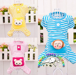 Pajamas for dogs pink blue yellow cotton clothes for small dogs striped dog jumpsuit yorkies shih tzu clothes teddy bear coverall CA152