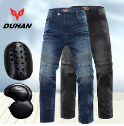 Wholesale DUHAN DK018 Moto racing pants Motorcycle summer Jeans Off road Motorcycle riding pants drop resistance External protective gear black blue