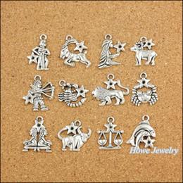 120 pcs Vintage Charms Zodiac Pisces Pendant Antique silver Fit Bracelets Necklace DIY Metal Jewelry Making