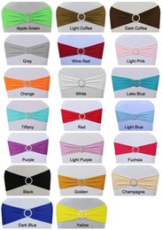 Wholesale factory price pc elastic spandex lycra chair band with plastic Crystal Round Buckle for wedding Banquet party decoration Z312